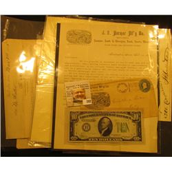 1855-1899 Memorabilia from Eastern Iowa including receipts, stamped Cover, and advertising letterhea