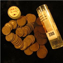 Roll of (53) 1918 D U.S. Lincoln Cents in a plastic coin tube.