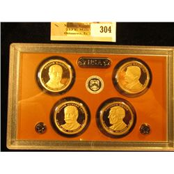 2013 S Four-piece U.S. Proof Presidential Dollar Set in original hard plastic case.