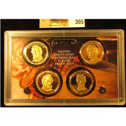 2010 S Four-piece U.S. Proof Presidential Dollar Set in original hard plastic case. (small crack in