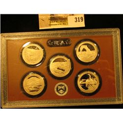 2014 S National Parks Proof Quarter-Dollar Five-piece set in original box plastic case.