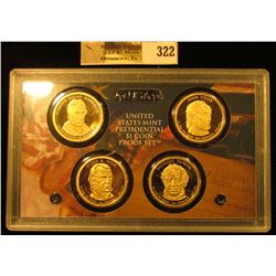 2009 S Four-piece U.S. Proof Presidential Dollar Set in original hard plastic case.