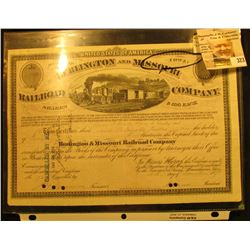 """United States of America State of Iowa Burlington and Missouri Railroad Company…December 1874"" Stoc"