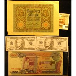 Cambodia 100 Baht Bank note, CU; 1920 Germany 100 Mark Banknote; & (2) pieces of Play Money.