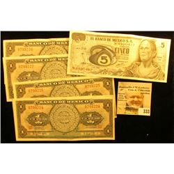 (5) One Peso & (1) Five Peso Mexico Banknotes in grades up to CU.