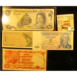 100 Seratus Rupiah Bank of Indonesia note; $1 Cayman Islands Currency Board Note; Bank of Indonesia