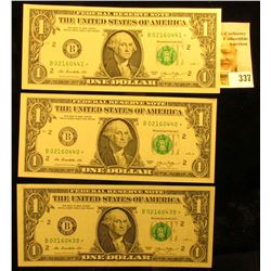 (3) Consecutive Numbered Series 2013 $1 Star Replacement $1 Federal Reserve Notes. CU.