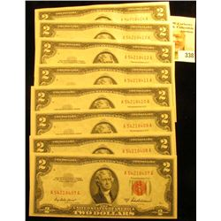 (8) Consecutive Numbered Series 1953A $2 Red Seal United States Bank Notes, all Crisp Uncirculated.