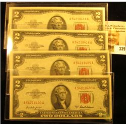 (4) Series 1953A $2 Red Seal United States Bank Notes, all Crisp Uncirculated. ($8 face value).