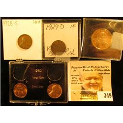 1960 P & D Cent, BU in plastic Case; 1928 S & 29 D Lincoln Cents; & 2002 S Proof Native American Dol