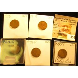 1918P, 19P, 24S, 28D, & 49S Lincoln Cents. in envelopes or flips.