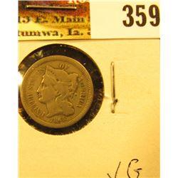 1865 U.S. Three Cent Nickel, VG.