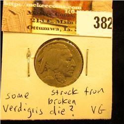 1921 S Buffalo Nickel, VG, possibly struck from a broken die.