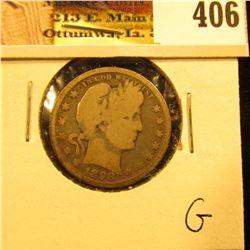 1898 P U.S. Barber Quarter Dollar, Good.