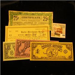 $1, $5, $10 Doggy Dough scrip; Depression scrip: March 10, 1933 Burke Merchants Script $5.00, No, 58