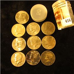 Plastic Tube with a partial roll of Kennedy Half-Dollars dated 1969 D to 2014 D, Some BU. (10 pcs.)