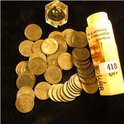 (50) 1943 World War II Steel Cents in a hexagonal plastic tube. Circulated.