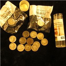 (9) Silver Mercury Dimes, a couple of which are in Littleton cellophane; 1957 D Roosevelt Dime, & (4