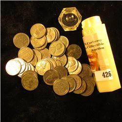 (44) 1943 World War II Steel Cents in a hexagonal plastic tube. Circulated.