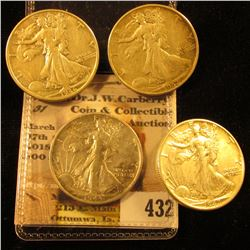 1936 D, 37 P, 42 P, & 43 S VF-EF U.S. Walking Liberty Half-Dollars.