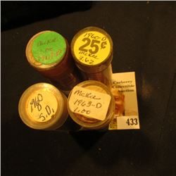 (2) 1960 D & (2) 1963 D Uncirculated Rolls of Lincoln Cents in plastic tubes.