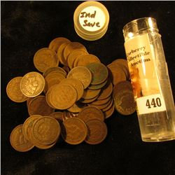 (58) Old U.S. Indian Head Cents. Mixed date in a plastic tube.