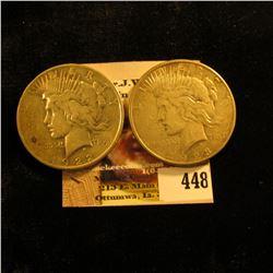 1922 P & 23 S U.S. Peace Silver Dollars, F-VF.