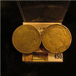 1921 S Morgan Silver Dollar, Fine; & 1926 D U.S. Peace Silver Dollar, VF.