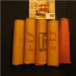 (5) Solid Date Rolls of 1953 S Lincoln Cents in paper wrappers.
