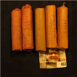 (5) Solid Date Rolls of Lincoln Cents including: 1913P, 30P, 51S, 52S, & 53S. All stored in paper wr