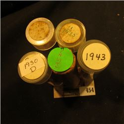(5) Solid Date Rolls of Lincoln Cents including: 1930D, 35, 36, 43, & 52S. One or two rolls maybe sh