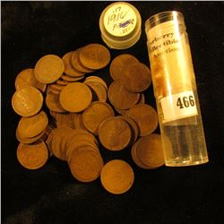 """1916 P Solid Date Roll of old U.S. """"Wheat Back"""" Lincoln Cents. Circulated."""