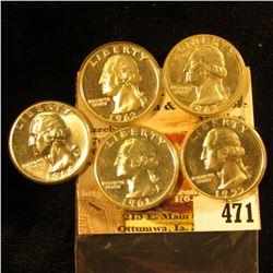 1955 P, 61 P, 62 P, 63 P, & 64 P Proof Washington Quarters.