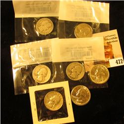 1909 P Barber Quarter in Littleton Coin Company cellophane; 1964 P & D Washington Quarters, BU; (2)