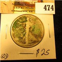 1919 P Walking Liberty Half Dollar, some green verdigris toniing on this scarce date half-dollar.