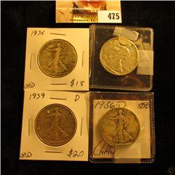 1936 P, 36 D, 39 D, & 44 D Walking Liberty Half Dollars grading up to EF.