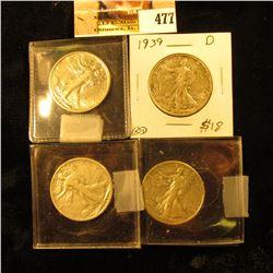 1927 S, 35 P, 39 D, & 44 D Walking Liberty Half Dollars grading up to EF.