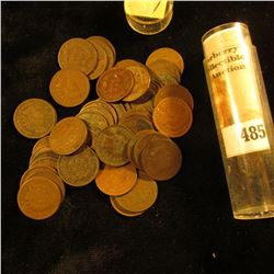 (50) Old U.S. Indian Head Cents. Mixed dates in a plastic tube.