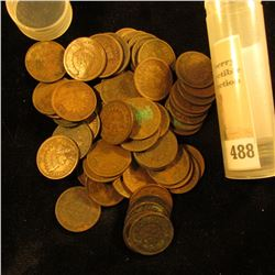 (67) Old U.S. Indian Head Cents. Mixed dates some are in a plastic tube.