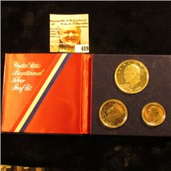1976 S U.S. Silver Three-Piece Proof Set in Red, White, and blue holder.