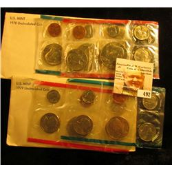 1978 & 79 U.S. Mint Sets. Both original as issued. ($7.64 face value). Originally issued at $15.00.