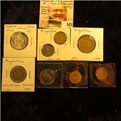 1964 Albania 50 Qindarka, KM42, Unc; Argentina: 1994 5 Centavos, KM109a.1 VF, 1992 VF & 1993 AU Ten