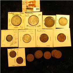 Australia Coinage: 1952 Silver Three Pence KM44 VF; 1936 KM26  VF & 1952 KM39 VF Silver Shillings; 1