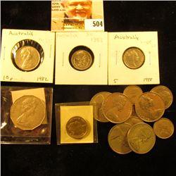 Australia Coinage: 1975 VF, 1978 VF, 1983 EF, & 88 KM64 Five Cents; (2) 1980 VF, 1981 VF, & 1982 VF