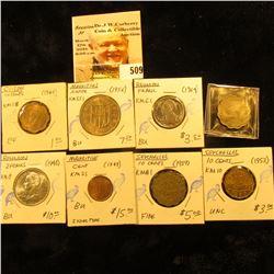 1944 Ceylon 10 cents KM118 EF; 1949 Mauritius cent KM25 UNC; 1956 Mauritas Rupee KM35.1 UNC; 1964 Re
