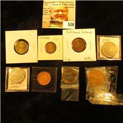 1992 Falkland Islands penny KM2 EF; 1998 Falkland Islands penny KM2a UNC; 1968 Finland penni KM44 UN