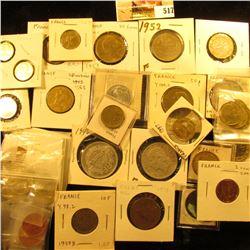 1873K France 5 centimes KM821.1 VF;1961 France 5 centimes KM927 UNC;1986 VF, 1987 EF, & 1996 AU Fran