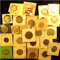 1862/1 Italy centesimo KM1.2 VF;1923 Italy 10 centesimi KM60 EF;1919 Italy 50 centesimi KM61.2 F;192