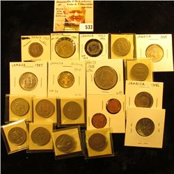 1908 Haiti 50 centimes KM56 VF;533 1952 Jamaica farthing KM33 UNC spots;533 1969 Jamaica 5 cents KM4