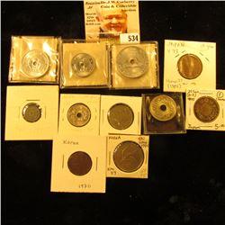 1923 Japan sen Y42 VF;1945 Japan sen Y62 F-VF; 1871 Japan 20 sen Y3 F year 4 cleaned;1952 Japan 10 y